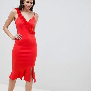 ASOS Rosette Strap Midi Bodycon Dress Sz.4